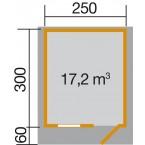 Weka 28 mm Gartenhaus Premium28 FT mit Vordach (60 cm) Gr. 3