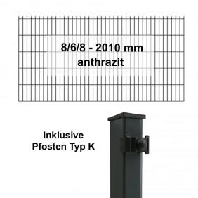 Kraus DS 8/6/8 - 2010 mm anthrazit - Pfosten K Komplettset