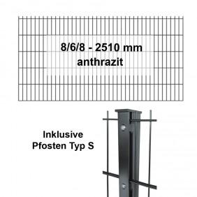 Kraus DS 8/6/8 - 2510 anthrazit Pfosten S Komplettset