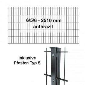 Kraus DS 6/5/6 - 2510mm - anthrazit - Pfosten S Komplettset