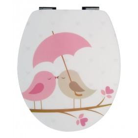 Sanitop Sitzplatz WC-Sitz High-Gloss Dekor Vogelpaar mit Soft-Schließ-Komfort und Fast Fix