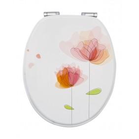 Sanitop Sitzplatz WC-Sitz Dekor Flora Rot mit Soft-Schließ-Komfort und Fast Fix