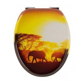 Sanitop Sitzplatz WC-Sitz Dekor Afrika mit Soft-Schließ-Komfort und Fast Fix