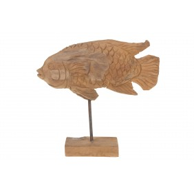 DIJK Fisch aus Teak mit Standfuß, 34 cm hoch