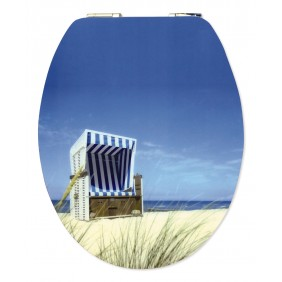 Sanitop Sitzplatz WC-Sitz High-Gloss Dekor Strandkorb mit Soft-Schließ-Komfort und Fast Fix