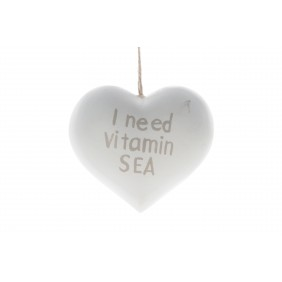 """DIJK Holzherz """"I need Vitamine SEA"""", weiß"""