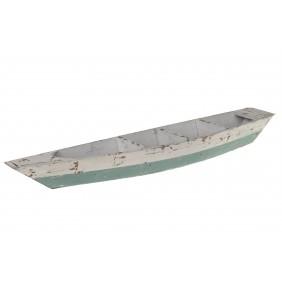 DIJK Holzboot weiß/grün, 64 x 14 x 7 cm