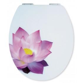 Sanitop Sitzplatz WC-Sitz High-Gloss Dekor Seerose mit Soft-Schließ-Komfort und Fast Fix