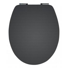Sanitop Sitzaplatz WC-Sitz High-Gloss Dekor Carbon Optik mit Soft-Schließ-Komfort und Fast Fix