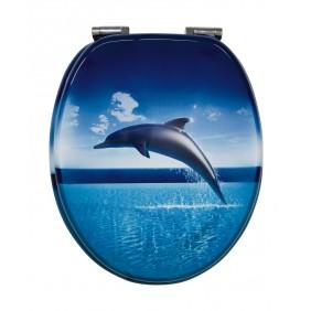 Sanitop Sitzplatz WC-Sitz Dekor Dolphin Dream mit Soft-Schließ-Komfort und Fast Fix