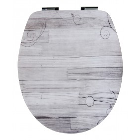 Sanitop Sitzplatz WC-Sitz High-Gloss Dekor Holzromantik mit Soft-Schließ-Komfort und Fast Fix