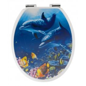 Sanitop Sitzplatz WC-Sitz Dekor 3-D Delfine mit Soft-Schließ-Komfort