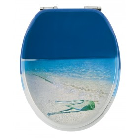 Sanitop Sitzplatz WC-Sitz Dekor Flaschenpost mit Soft-Schließ-Komfort und Fast Fix