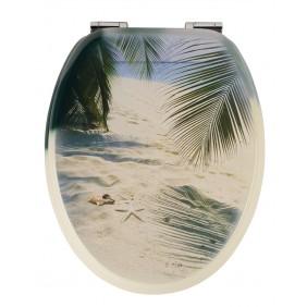 Sanitop Sitzplatz WC-Sitz Dekor Beach mit Soft-Schließ-Komfort und Fast Fix