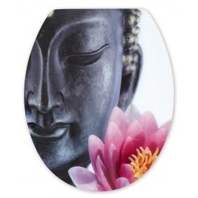 Sanitop Sitzplatz WC-Sitz High-Gloss Dekor Buddha mit Soft-Schließ-Komfort und Fast Fix