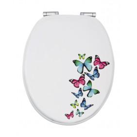 Sanitop Sitzplatz WC-Sitz Dekor Schmetterlingszauber mit Soft-Schließ-Komfort und Fast Fix