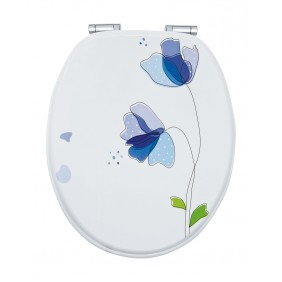 Sanitop Sitzplatz WC-Sitz Dekor Flora Blau mit Soft-Schließ-Komfort und Fast Fix