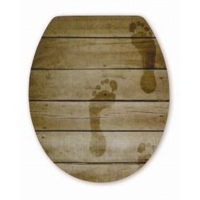 Sanitop Sitzplatz WC-Sitz High-Gloss Dekor Foot Print mit Soft-Schließ-Komfort und Fast Fix