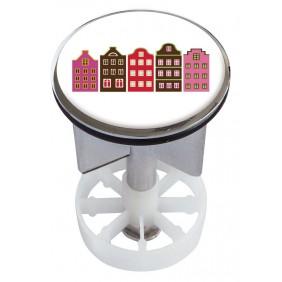 Sanitop Excenterstopfen Metall 38 - 40 mm Design Häuserchen