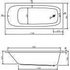 Acryl-Badewanne Meleo 170 cm weiß