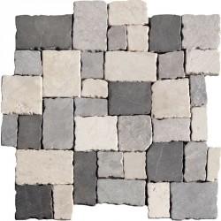 Naturstein Mosaik 8 mm Schwarz Grau Beige Römischer Verband getrommelt