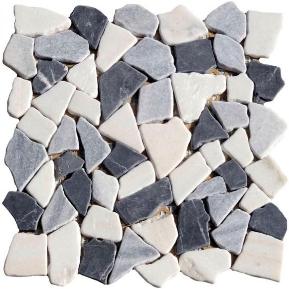 Naturstein Bruchmosaik Schwarz Grau Weiss Mix (Nero Grey Bianco)
