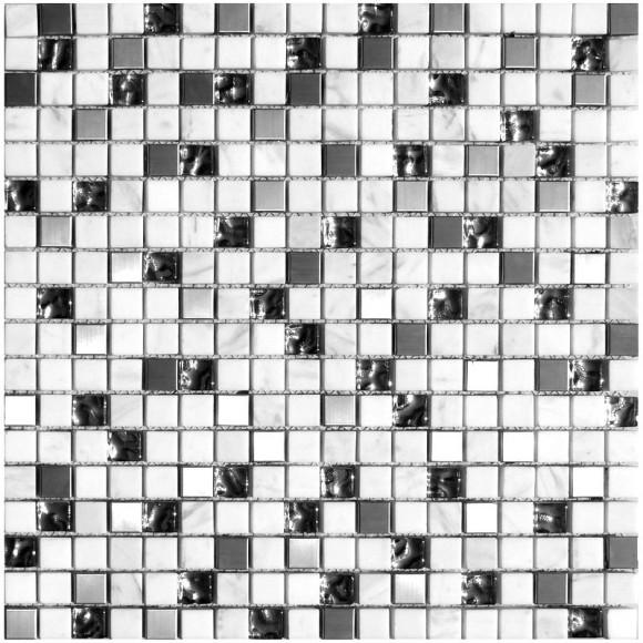 Naturstein Glas Metall Mosaik 8 mm White 15 | mein-fliesenparadies.de
