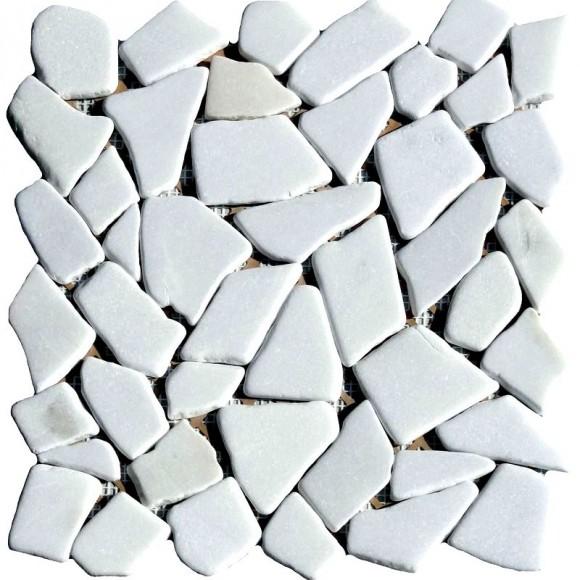 Naturstein Bruchmosaik Weiss (Bianco)