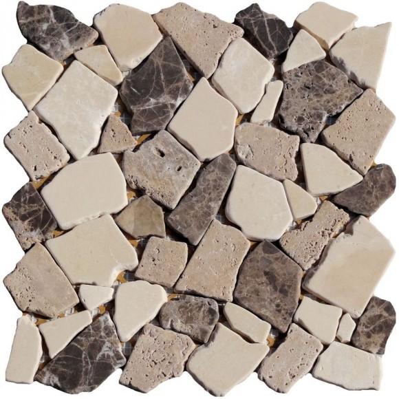 Naturstein Bruchmosaik Braun Beige Mix (Brown Beige)