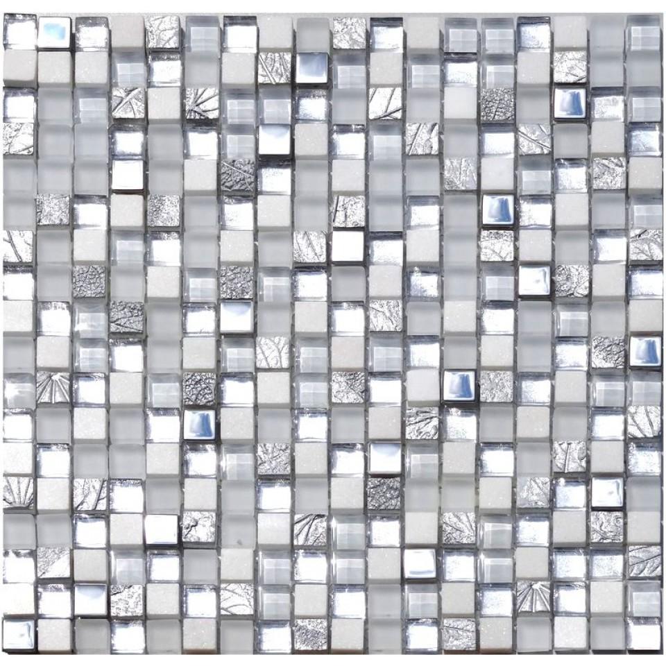 Naturstein Glas Metall Mosaik 8 mm Silver White 15   mein ...
