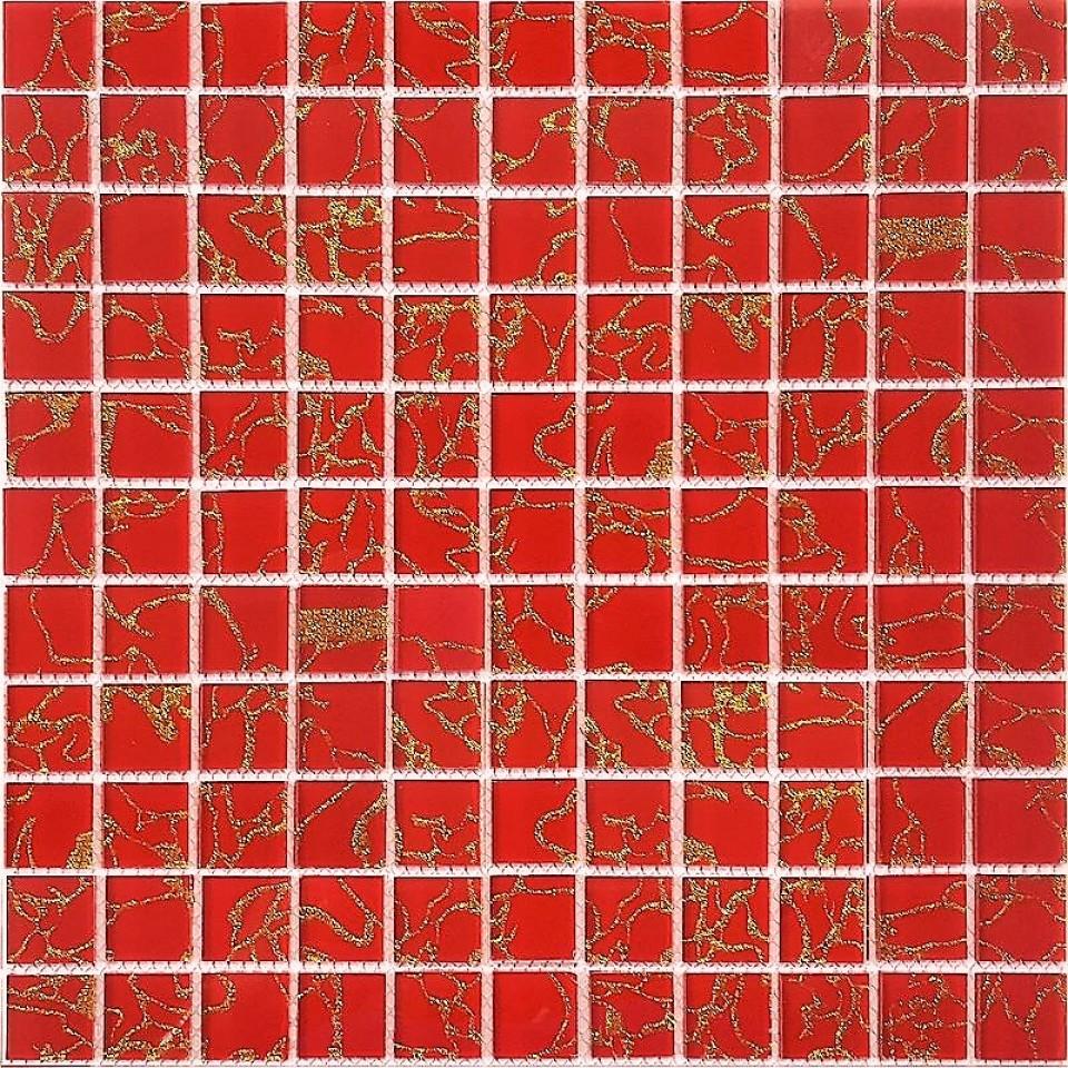 Glas Mosaik 4 mm Cream Gold Mix 2,5x2,5 cm auf Netz geklebt | mein ...
