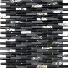 Glas Naturstein Perlmut Mosaik 8 mm Schwarz
