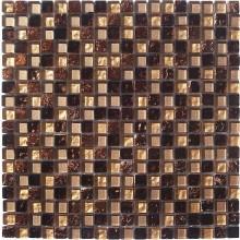 Glas Mosaik 8 mm mit Dekor Mini Beige Brown