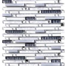 Glas Mosaik 8 mm Perlmut optik Weiß Line 15