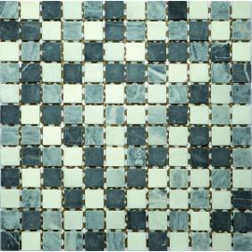 Mosaik schwarz/grau mix glänzend 2,3x2,3 cm auf Netz 30x30