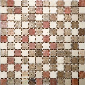 Mosaik Rosso mix 2,3x2,3 cm auf Netz 30,5x30,5