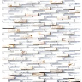 Glas Naturstein Perlmut Mosaik 8 mm Weiss
