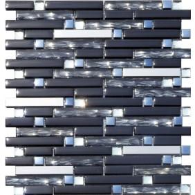 Glas Naturstein Metall Mosaik 8 mm Black Line 15