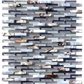 Glas Naturstein Perlmut Mosaik 8 mm  Grau
