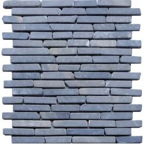 Naturstein Mosaik 8 mm Anthrazit Line Brick getrommelt