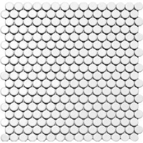 Keramik Knopf Mosaik 4 mm Weiß matt