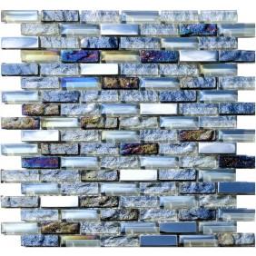 Glas Naturstein Metall Mosaik 8 mm Weiss Grau Light