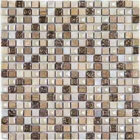 Glas Naturstein Keramik Mosaik 8 mm Mini Beige Mix