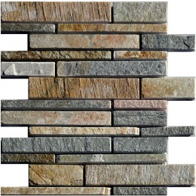 Naturstein Mosaik 8 mm Quarzit Multicolor Wall