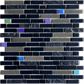 Glas Mosaik 8 mm Effekt Optik Schwarz (Black) Line15