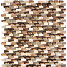 Glas Naturstein Perlmut Mosaik 8 mm Braun (Brown) 10/20 mm