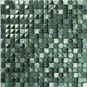 Mosaik grau/grün matt 2,3x2,3 cm auf Netz 30,5x30,5