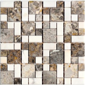 Naturstein Mosaik Goldenvain Bianco poliert