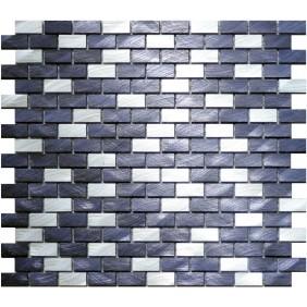 Aluminium Mosaik 4 mm Schwarz Silber (Black Silver) mix Brick