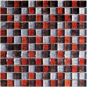 Glas Mosaik 8 mm Metall Effekt Braun Orange Silber Mix